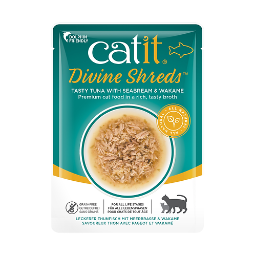 Catit Divine Shreds – Tuna with Seabream & Wakame in Tasty Broth 75g