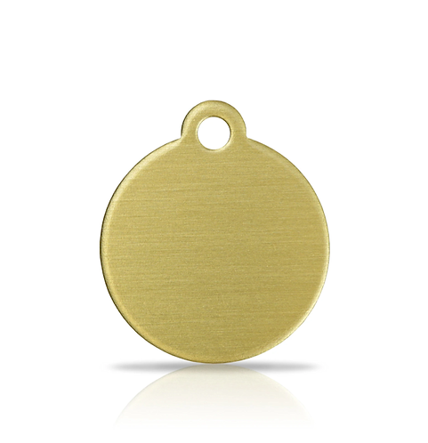 Small Brass Round Engraved ID Tag