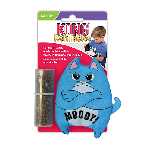 Kong Refillable Moody Cat Crinkle Catnip Toy