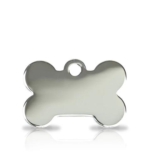 Small Silver Bone Engraved ID Tag