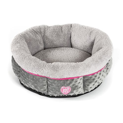 Small Bite Donut Bed 50cm Grey with Pink