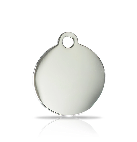 Small Silver Round Engraved ID Tag