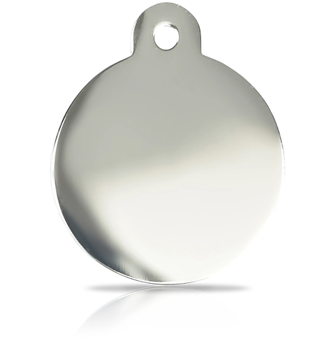 Large Silver Round Engraved ID Tag