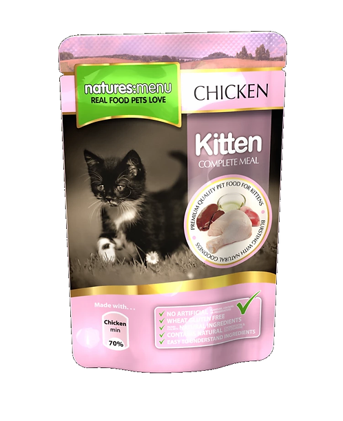 NATURES MENU CAT POUCHES  CHICKEN FOR KITTENS 100g