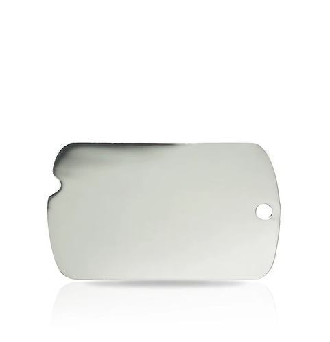 Large Silver Military Engraved ID Tag
