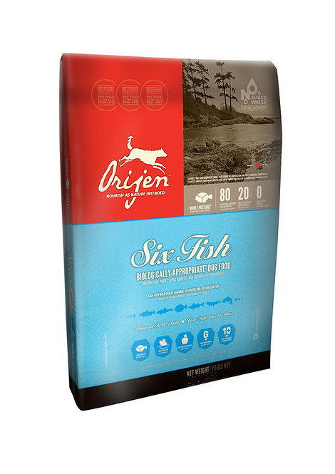Orijen Adult Dog Food Six Fish 340g, 2kg, 6kg, 11.4kg. Price from
