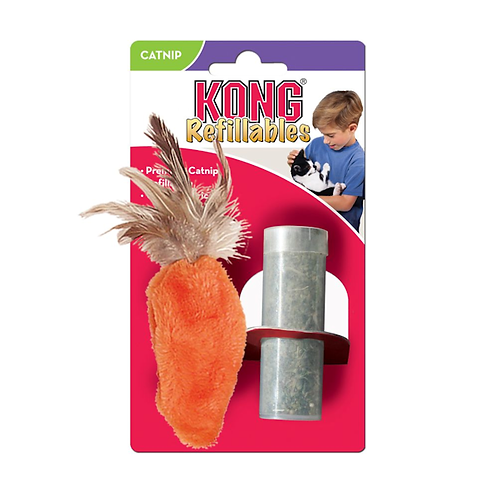 Kong Refillable Feather Top Carrot Catnip Toy