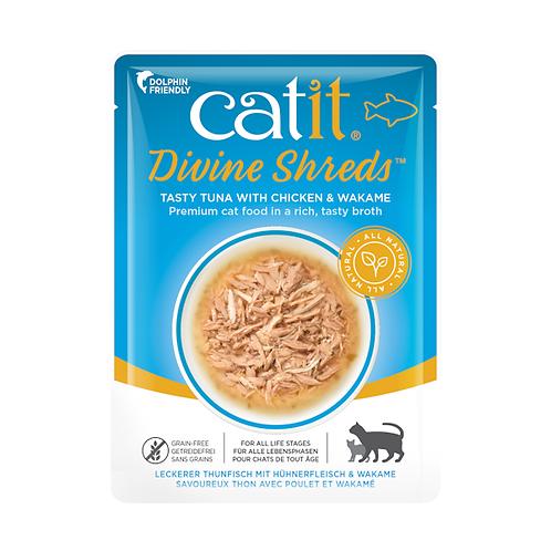 Catit Divine Shreds – Tuna with Chicken & Wakame in Tasty Broth 75g