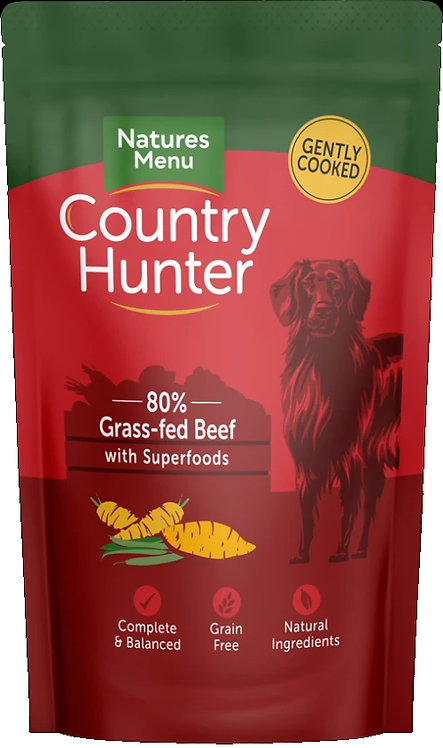 COUNTRY HUNTER DOG POUCHES  GRASS GRAZED BEEF  FOR ADULT DOGS 150g