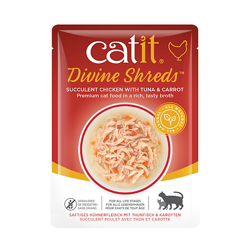 Catit Divine Shreds – Chicken with Tuna & Carrot in Tasty Broth 75g