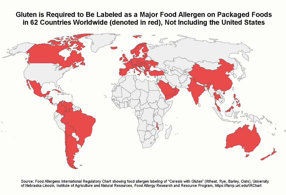 """Gluten is Required to Be Labeled as a Major Food Allergen on Packaged Foods in 62 Countries Worldwide (denoted in red), Not Including the United States. Source: Food Allergens International Regulatory Chart showing food allergen labeling of """"Cereals with Gluten"""" (Wheat, Rye, Barley, Oats), University of Nebraska-Lincoln, Institute of Agriculture and Natural Resources, Food Allergy Research and Resource Program. International Regulatory Map - Gluten is Required to Be Labeled as a Major Food Allergen on Packaged Foods  in 62 Countries Worldwide (denoted in red), Not Including the United States"""