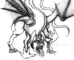 Dragon black and white sketch