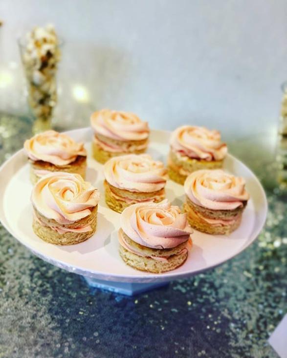 Vanilla pink rose cupcakes