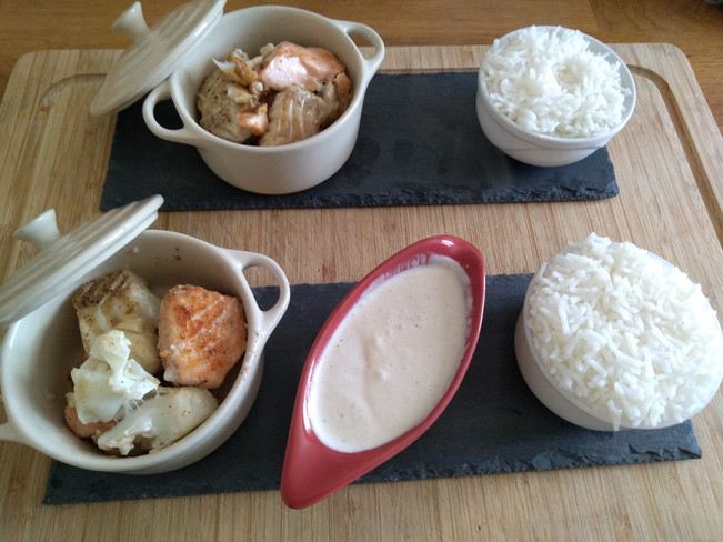 Cassolettes aux 3 poissons,son riz basmati et sa sauce au citron