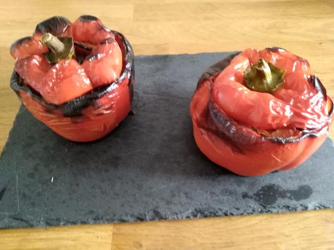 Poivron Rouge Farci à l'Oignon,Tomate ,Courgette,et Chorizo
