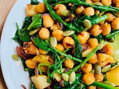 CHICKPEA, SPINACH & SAMPHIRE SALAD (Vegan)