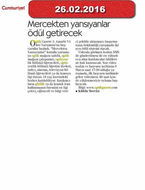 26 Şubat 2016 - Cumhuriyet Gazetesi