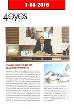 Ağustos 2016 - 4Your Eyes Dergisi
