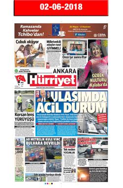 2 June 2018, Hürriyet Ankara (Cover)