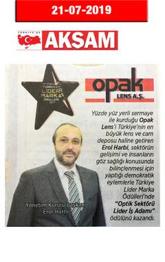 21 Temmuz 2019 -Akşam Gazetesi