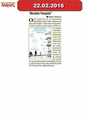 22 Şubat 2016 - Anayurt Gazetesi