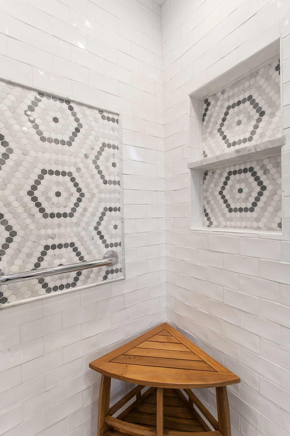 Mosaic tile inset and niches, ceramic subway tile