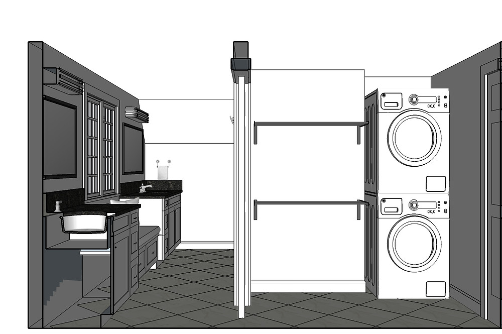 Sketchup 3D rendering bathroom laundry room