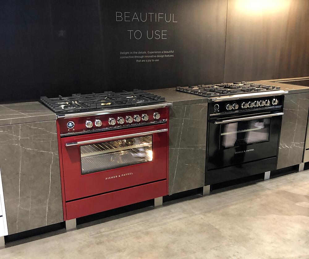 Fisher & Paykel colored gas ranges red and black kbis