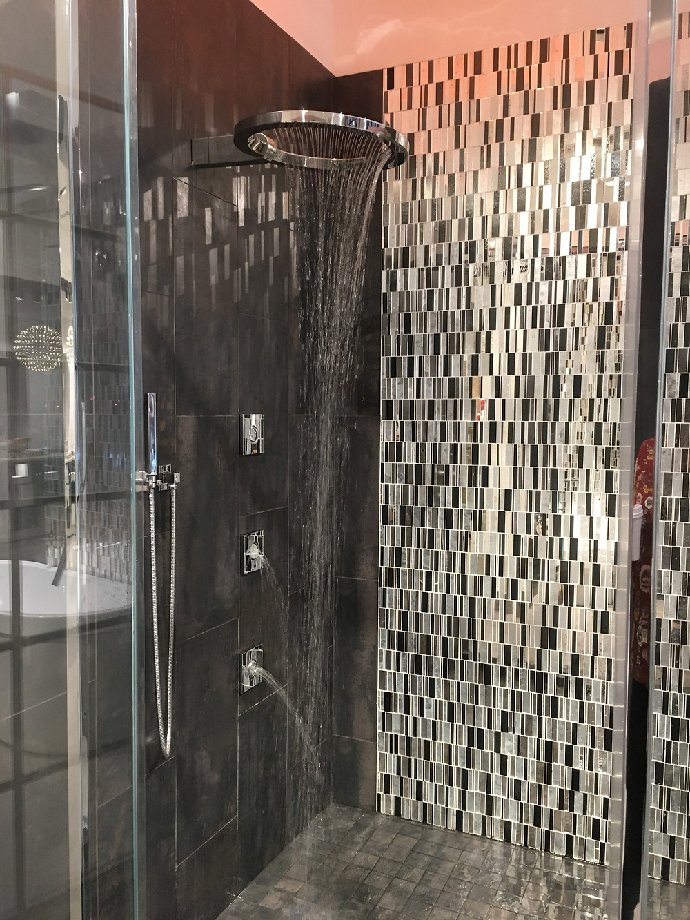 View of unique showerhead and body sprays at the Pirch showroom in NYC.