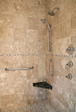 Limestone Shower Tile and Fixtures