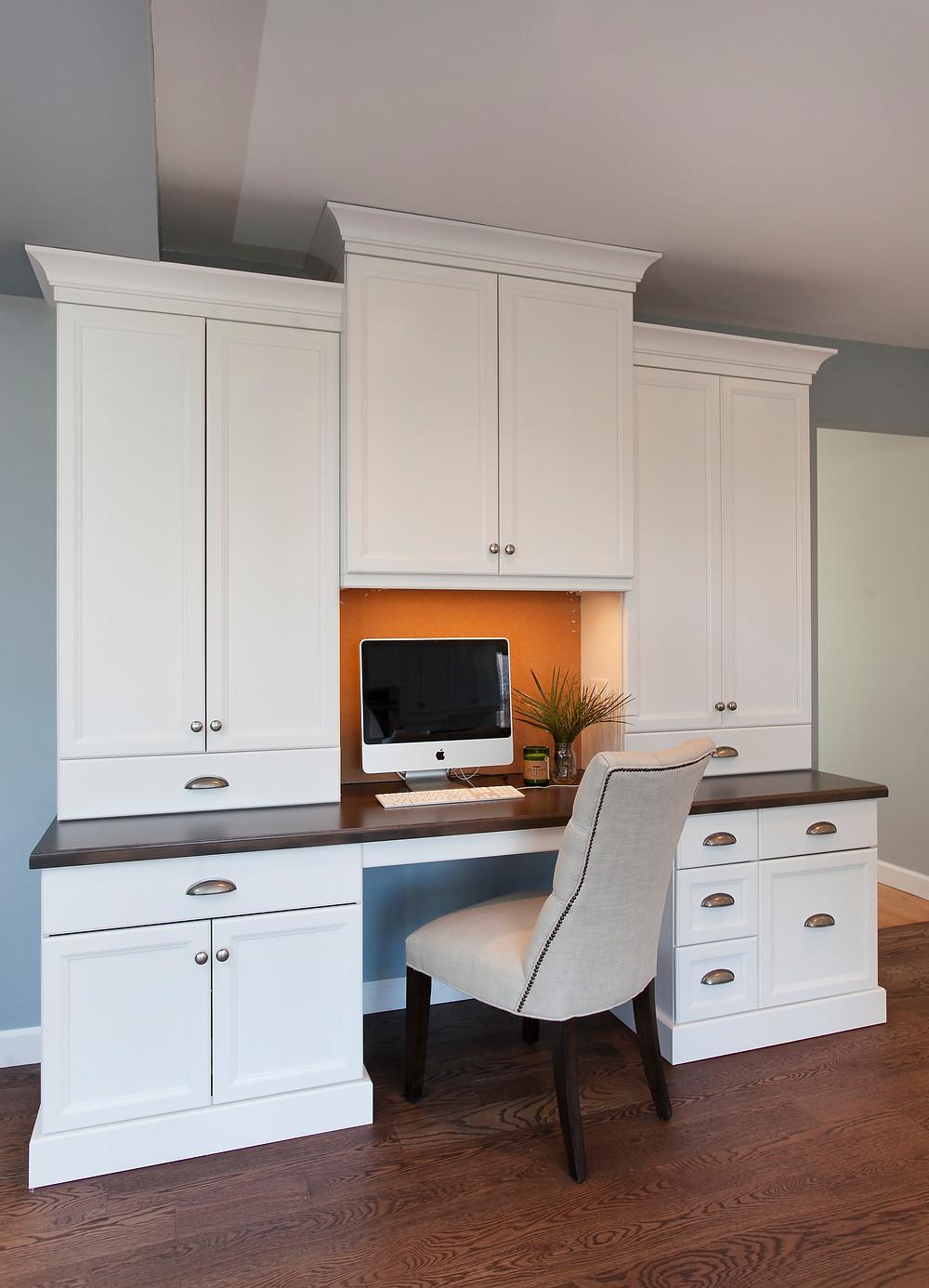 Built-in desk in white kitchen