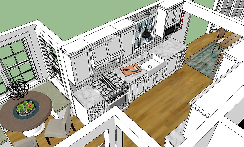 KBDC sketchup scene white kitchen