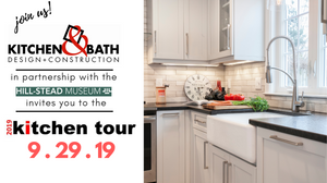 2019 Kitchen Tour Event Banner, white kitchen, farmhouse sink and faucet with black granite countertops.