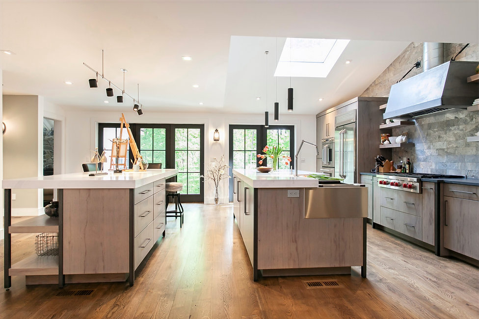 Contemporary Kitchen with Double Islands