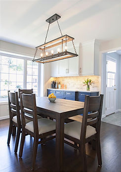 Wood Accents and Blue Dining Room Cabinetry
