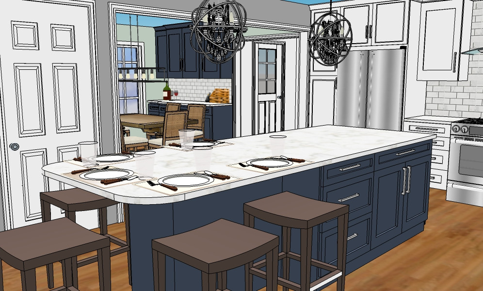 Sketchup white and blue kitchen