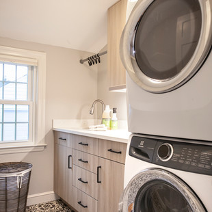 Sophisticated Laundry with Deco Tile Floor
