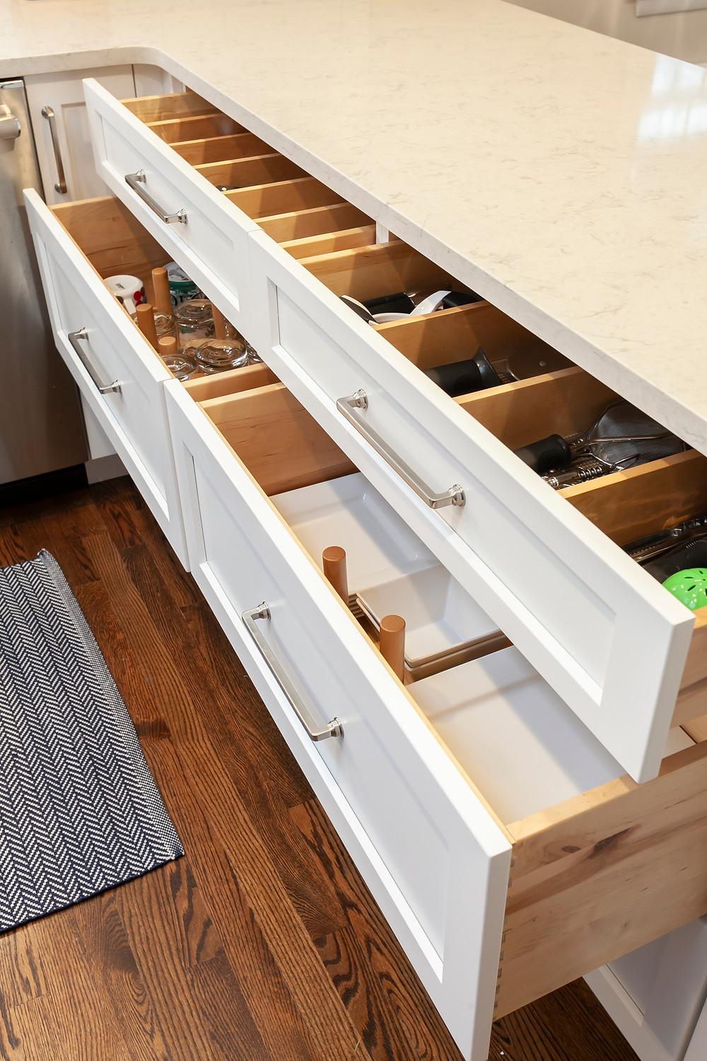 Kitchen cabinets with drawers and organizational pullouts