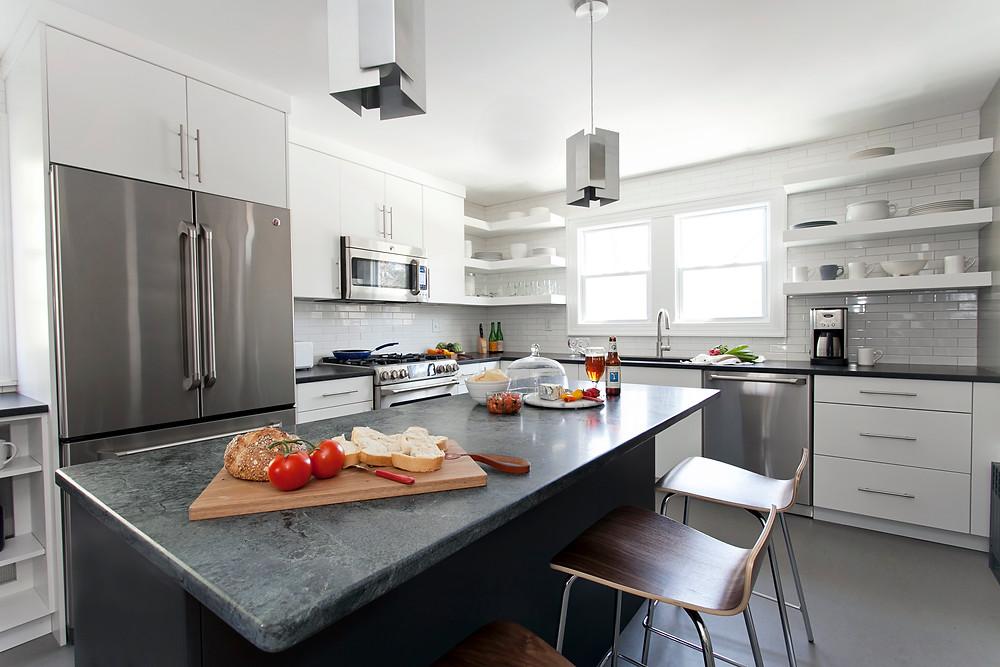 Beautiful white kitchen with modern appliances
