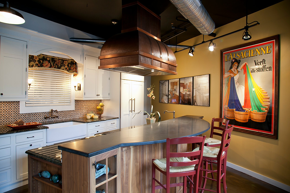 Interior Design showroom with kitchen display with island