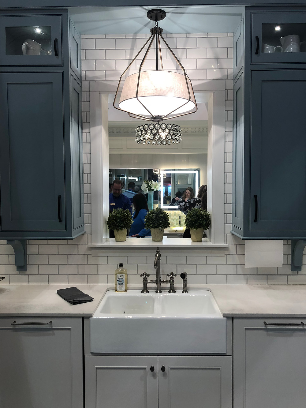 Blue and grey cabinetry farmhouse sink KBIS 2019