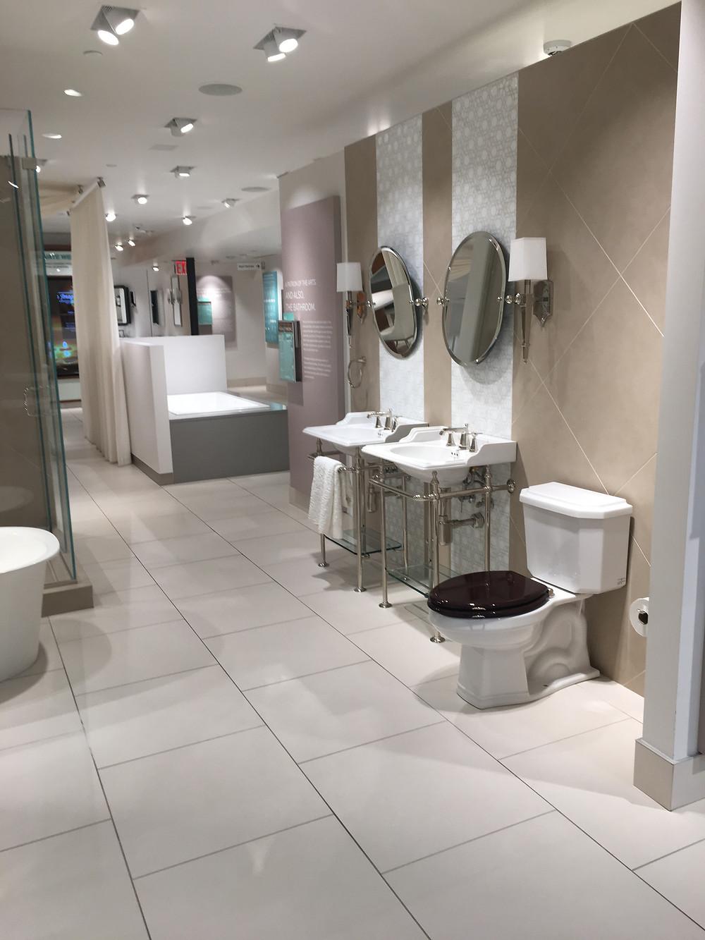 Entering bath displays, Pirch showroom, NYC.