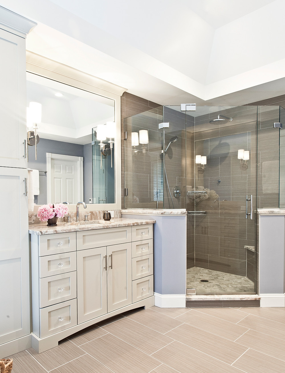 Luxurious master bathroom with double corner shower