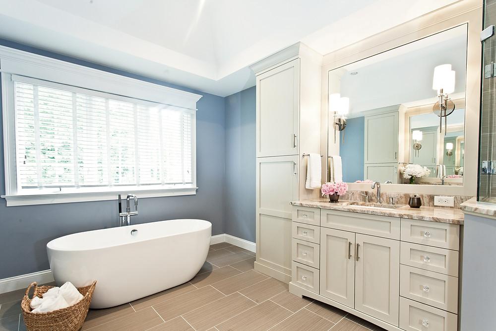 bathroom design, bathroom ideas, ultracraft cabinetry, freestanding tub, porcelain tile, white vanity
