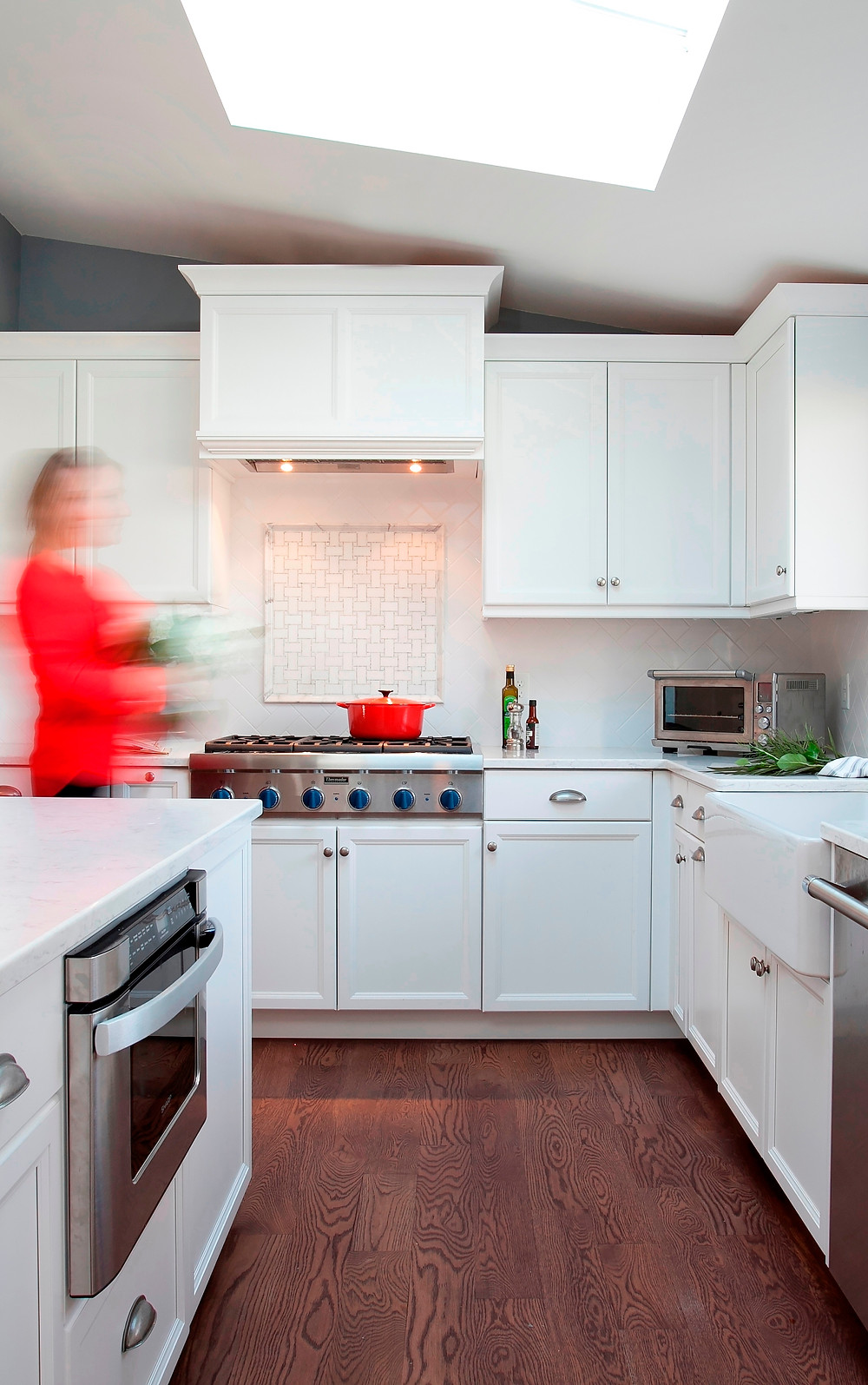 The white kitchen will retain its popularity but may now be joined by pops of jewel-toned color.