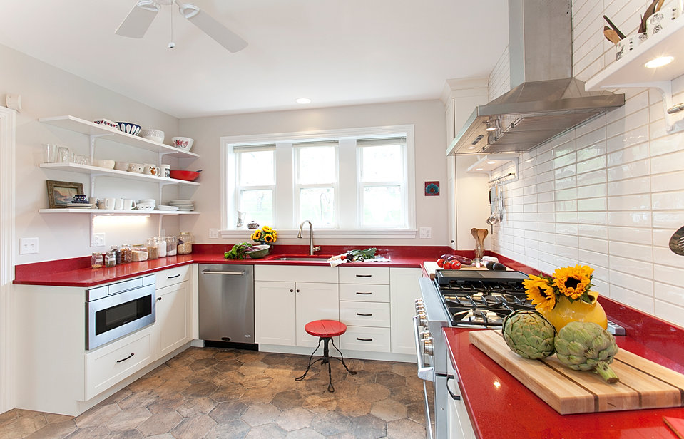 red and white european style kitchen designed and installed by kb dccom