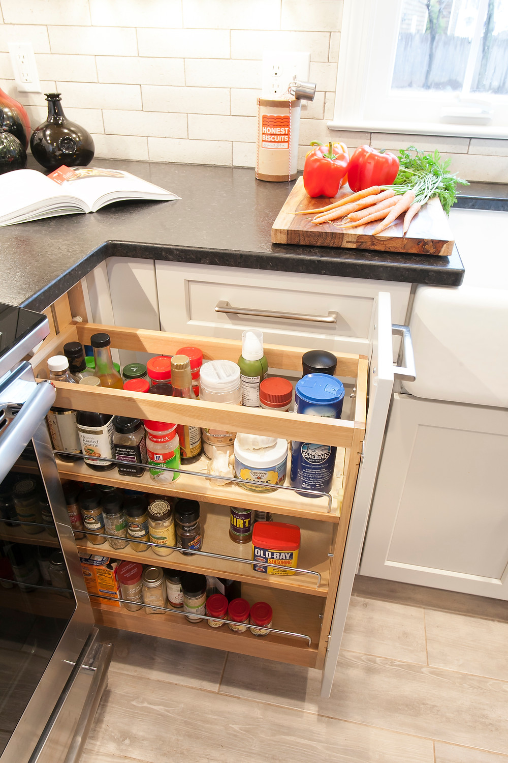 Kitchen feature spice pullout.