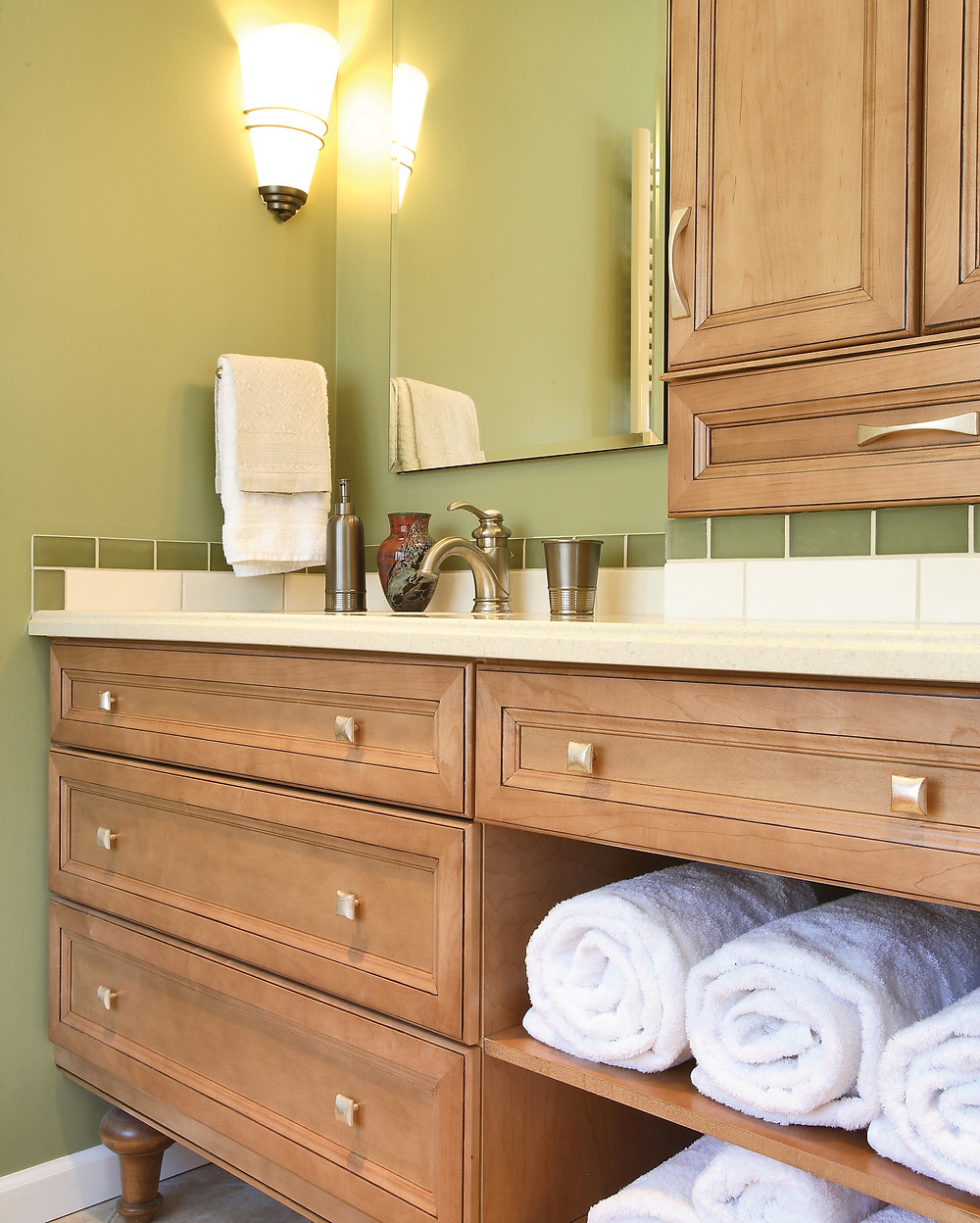 Green bathroom wall color wooden vanity with storage