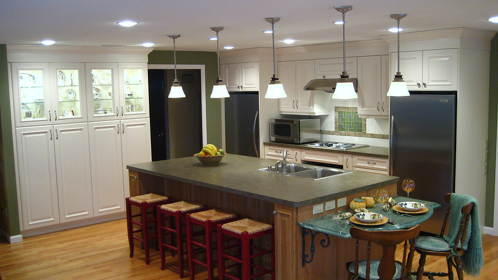 Accessible kitchen white lowered island seating