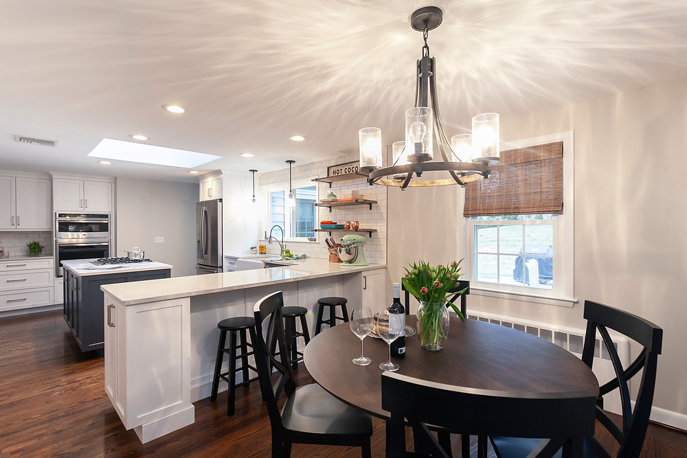 Blue and white open concept kitchen